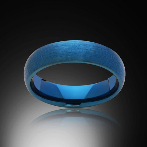 Blue Tungsten Ring - Brushed - 6MM - Engagement Band - Mens Ring - Unisex