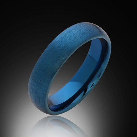 6mm,New,Unique,Satin Brushed Blue Ring,Mens ,Tungsten Ring,Wedding Band,Blue Ring,Unisex,Comfort Fit