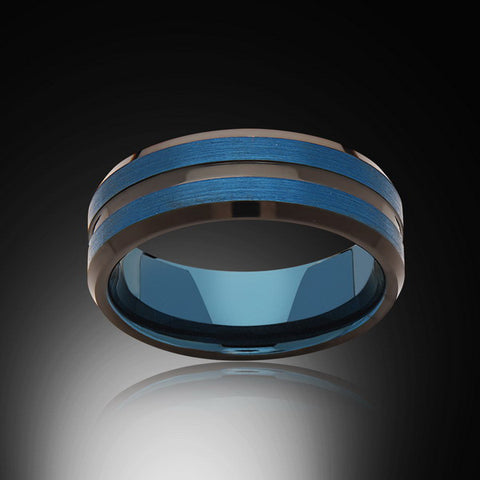Blue Tungsten Ring - Brushed Blue - Black - Engagement Band - 6MM - Mens Ring - Unisex - RING BEARER LA