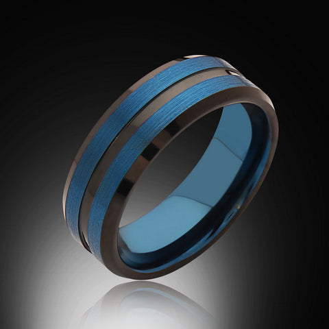 8mm,Brushed Satin Brushed,Blue Tungsten Ring,Unisex Wedding Band,Comfort Fit