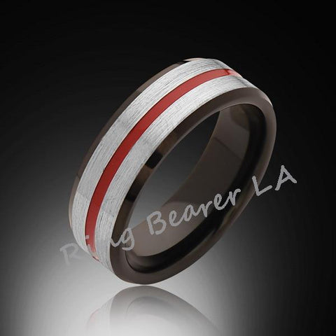 8mm,Satin Brushed Gray,Red and Black,Tungsten Ring,Wedding Band,Mens,Unisex,Band,Comfort Fit - RING BEARER LA