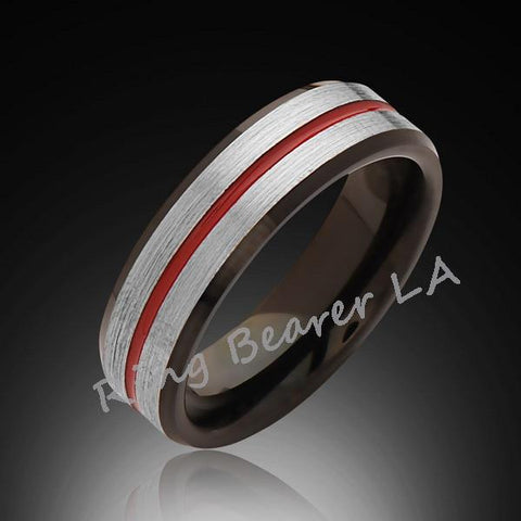 6mm,Satin Brushed Gray,Red and Black,Tungsten Ring,Wedding Band,Mens,Unisex,Band,Comfort Fit - RING BEARER LA