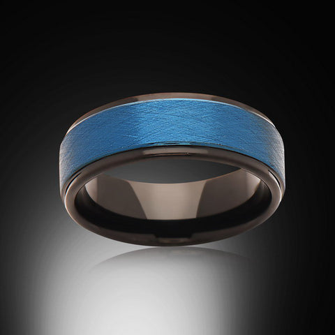 Blue Tungsten Ring- Brushed - Black - Stepped Edges - Engagement Band - Mens Band - Unisex - RING BEARER LA