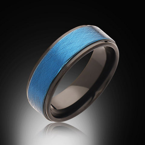 Men's Blue and Black Ring,6mm,New,Unique,Satin Brushed Blue Ring,Tungsten Ring,Wedding Band,Blue Ring,Comfort Fit - RING BEARER LA