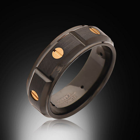 Men's Screw Design,8mm,New,Unique,Black Satin Brushed,Rose Gold,Tungsten Rings,Wedding Band,Comfort Fit - RING BEARER LA