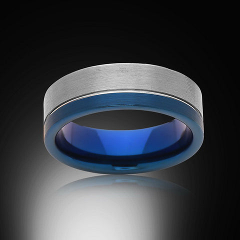 Mens Blue Tungsten Ring,8mm,Brushed Satin Gray,Blue Tungsten Ring,Mens Wedding Band,Comfort Fit - RING BEARER LA