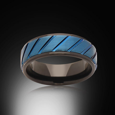 Men's Blue and Black Ring,6mm,Grooved,New,Satin Brushed,Blue Ring,Tungsten Ring,Comfort Fit - RING BEARER LA