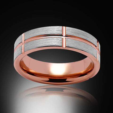 Rose Gold Tungsten Ring- Gray Brushed - Pipe Cut - 6MM - Engagement Band - Unique - Mens Band - Unisex
