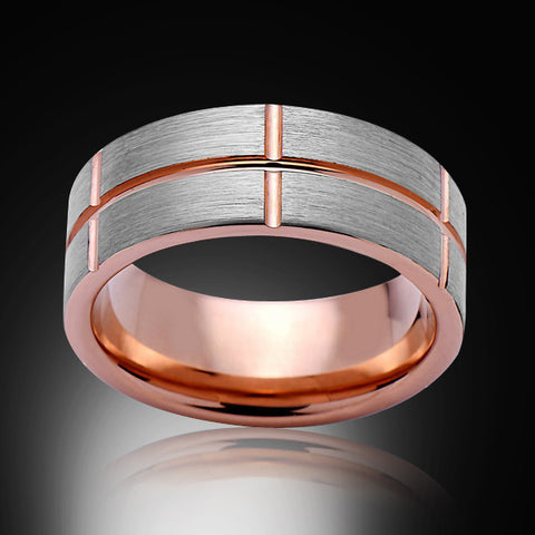 Rose Gold Tungsten Ring- Gray Brushed - Pipe Cut - 8MM - Engagement Band - Unique - Mens Band - Unisex - RING BEARER LA