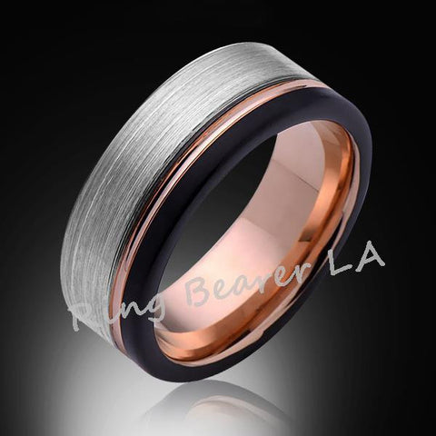 8mm,Satin,Black Brushed,Rose Gold Groove,Tungsten Ring,Rose Gold,Wedding Band,Mens Ring,Comfort Fit - RING BEARER LA