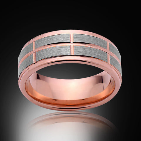 Rose Gold Tungsten Ring- Gray Brushed - Stepped Edges - 8MM - Engagement Band - Unique - Mens Band - Unisex - RING BEARER LA