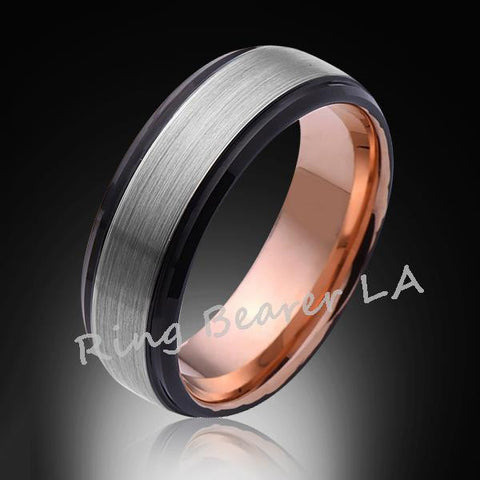 8mm,New,Unique,Satin Brushed,Rose Gold,Tungsten Ring,Mens Wedding Band,Comfort Fit - RING BEARER LA
