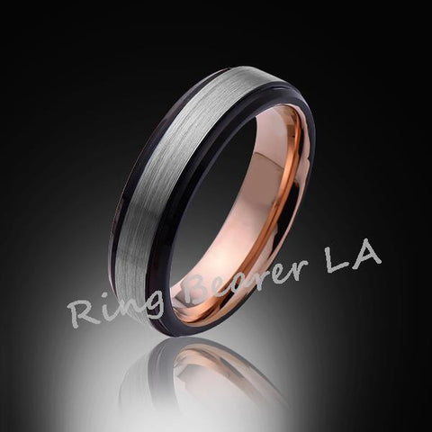 6mm,Unique,Satin Brushed Gray,Rose Gold and black,Tungsten Ring,Wedding Band,Comfort Fit - RING BEARER LA