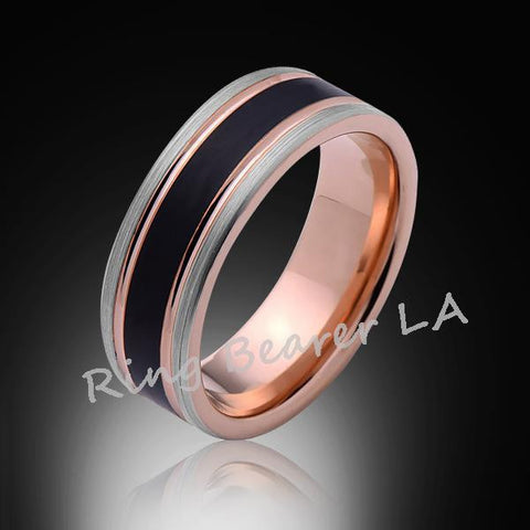 8mm,New,Unique,Satin Brushed Black,Gray,Rose Gold,Tungsten Ring,Mens Wedding Band,Comfort Fit - RING BEARER LA
