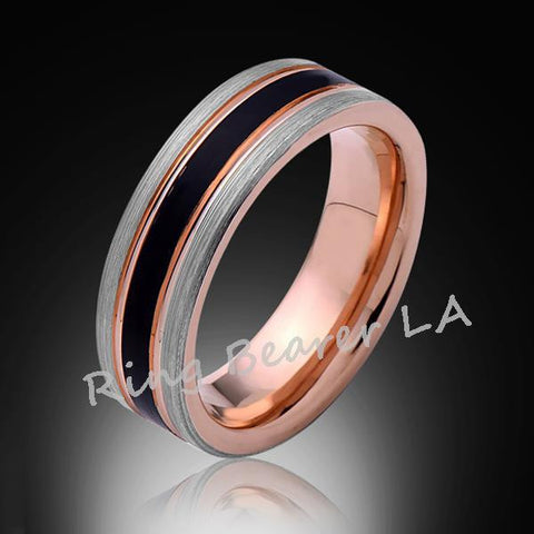 6mm,Unique,Satin Brushed,Gray and Black,Rose Gold,Tungsten Ring,Mens Wedding Band,Comfort Fit - RING BEARER LA