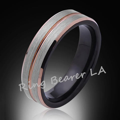 6mm,Brushed Satin,Gray and Black Brushed,Rose Gold Groove,Tungsten Ring,Unisex Comfort Fit - RING BEARER LA
