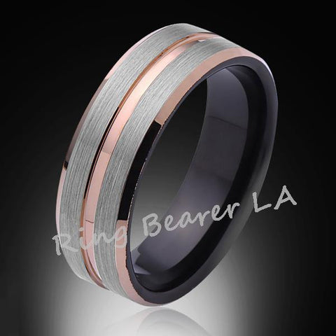 8mm,Brushed Satin,Gray and Black Brushed,Rose Gold Groove,Tungsten Ring,Unisex Comfort Fit - RING BEARER LA
