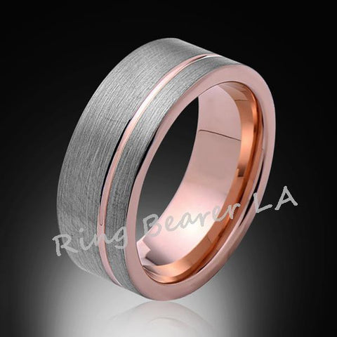 8mm,Satin Brushed Gray,Rose Gold Groove,Tungsten Ring,Wedding Band,Unisex,Comfort Fit - RING BEARER LA