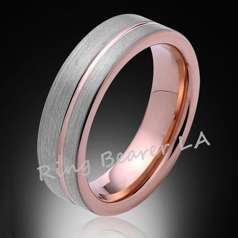 6mm,Unique,Satin Brush Gray,Rose Gold Groove,Tungsten Ring,Wedding Band,Unisex,Comfort Fit - RING BEARER LA