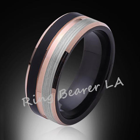 8mm,Brushed Satin,Gray and Black Brushed,Rose Gold,Tungsten Ring,Comfort Fit - RING BEARER LA