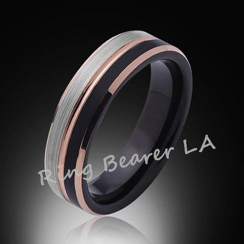 6mm,Brushed Satin,Gray and Black Brushed,Rose Gold,Tungsten Ring,Comfort Fit - RING BEARER LA
