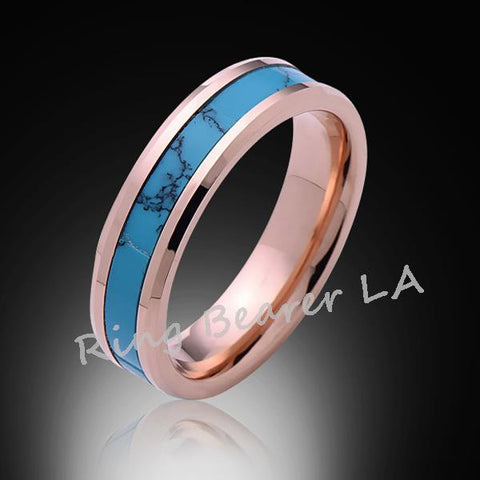 6mm,Unique,Rose Gold,Turquoise,Tungsten Ring,Rose Gold,Wedding Band,His,Hers,Comfort Fit - RING BEARER LA