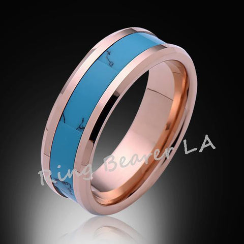8mm,Unique,Rose Gold,Turquoise,Tungsten Ring,Rose Gold,Wedding Band,His,Hers,Comfort Fit - RING BEARER LA