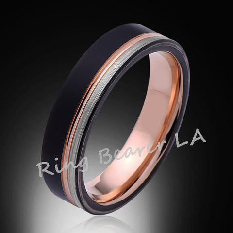 6mm,Unique,Black,Gray Satin Brushed,Rose Gold Groove,Tungsten Ring,Rose Gold,Wedding Band,Unisex,Comfort Fit - RING BEARER LA