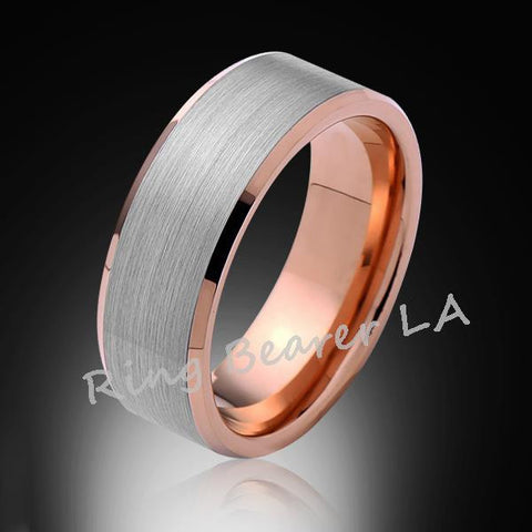 8mm,New,Unique,Satin Gray,Brushed,Rose Gold,Tungsten Ring,Mens Wedding Band,Comfort Fit - RING BEARER LA