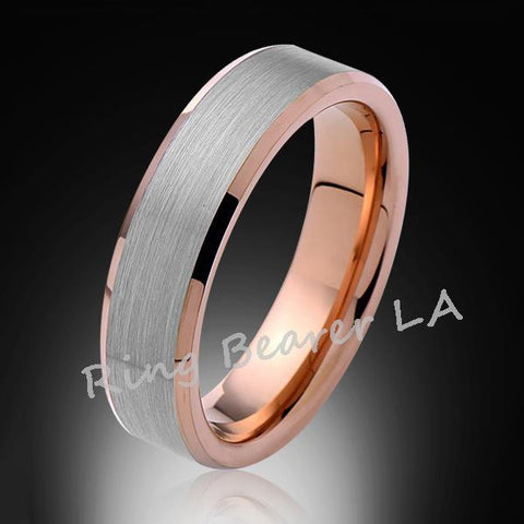 6mm,New,Unique,Satin Brushed Gray,Rose Gold Bevleld,Tungsten Ring,Wedding Band,Comfort Fit - RING BEARER LA