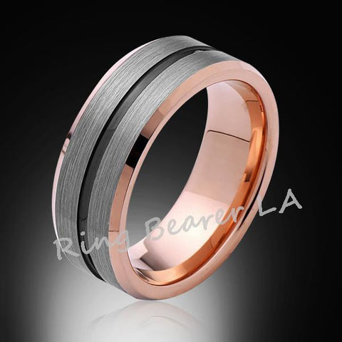 8mm,New,Satin Bushed Gray,Black Groove,Rsoe Gold,Tungsten Ring,Unisex,Wedding Band,Comfort Fit - RING BEARER LA