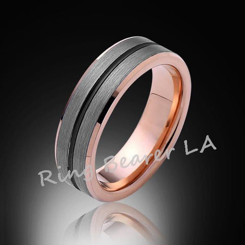 6mm,New,Satin Bushed Gray,Black Groove,Rsoe Gold,Tungsten Ring,Unisex,Wedding Band,Comfort Fit - RING BEARER LA