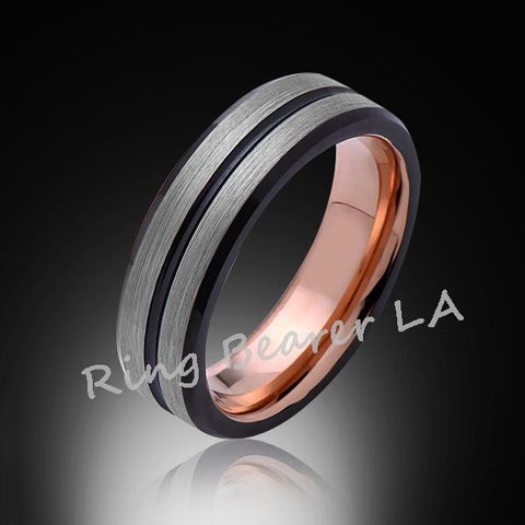 6mm,Unique,Stain Gray Brushed,Rose Gold,Bkack,Tungsten Ring,Wedding Band,Comfort Fit - RING BEARER LA