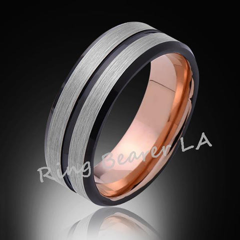8mm,Satin Brushed Gray,,Black,Rose Gold Groove,Tungsten Ring,Rose Gold,Wedding Band,Mens Band,Comfort Fit - RING BEARER LA