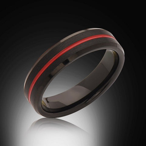 Mens' Red and Black Tungsten Ring,6mm,Unique,Satin Black Brushed, Red Groove,Tungsten Ring,,Wedding Band,Comfort Fit - RING BEARER LA