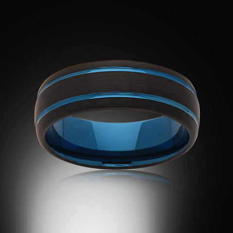 Blue Tungsten Ring - Brushed Black - Dome - Blue Grooves - Engagement Band - 8MM - Mens Ring - Unisex - RING BEARER LA