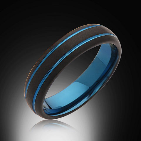 Men's Blue Tungsten Ring,6mm,Satin Brushed Black,Wedding Band,Blue Ring,Unisex,Comfort Fit - RING BEARER LA