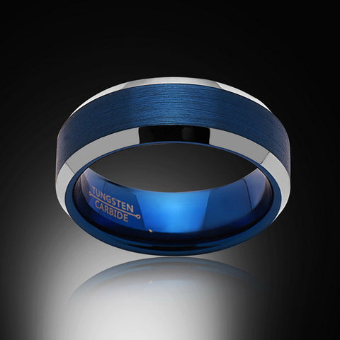Blue Tungsten Ring - High Polish - Beveled Edges - 8MM - Engagement Band - Mens Ring - Unisex