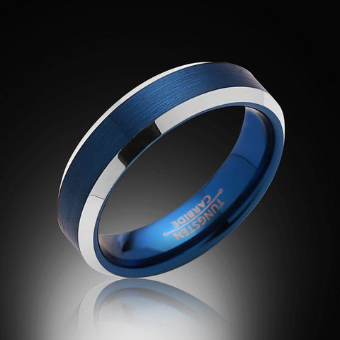 6mm,New,Unique,Satin Brushed Blue Ring, Silver,Tungsten Ring,Wedding Band,Blue Ring,Comfort Fit - RING BEARER LA