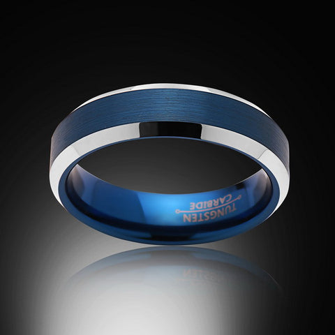 Blue Tungsten Ring - High Polish - Beveled Edges - Engagement Band - 6MM - Mens Ring - Unisex - RING BEARER LA