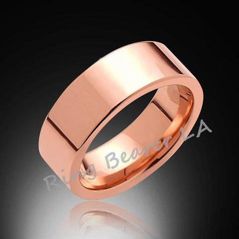 8mm,New,Pipe Cut,High Polish Rose Gold,,Rose,Tungsten Rings,Wedding Band,Unisex,Comfort Fit - RING BEARER LA