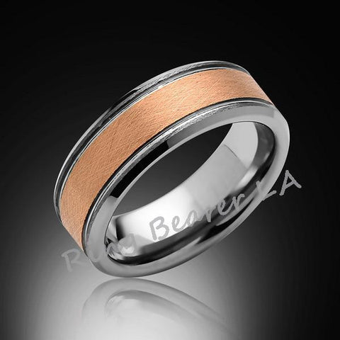 8mm,New,Unique,Brushed Satin,Rose Gold Ring,Wedding Band,Pipe Cut,Unisex,Comfort Fit - RING BEARER LA