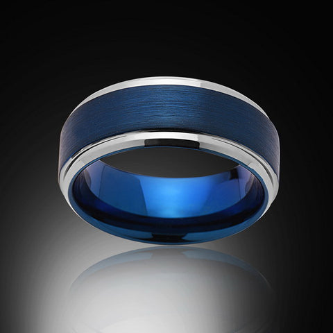 Blue Tungsten Ring - High Polish - Stepped Edges - Engagement Band - Mens Band - Unisex - RING BEARER LA