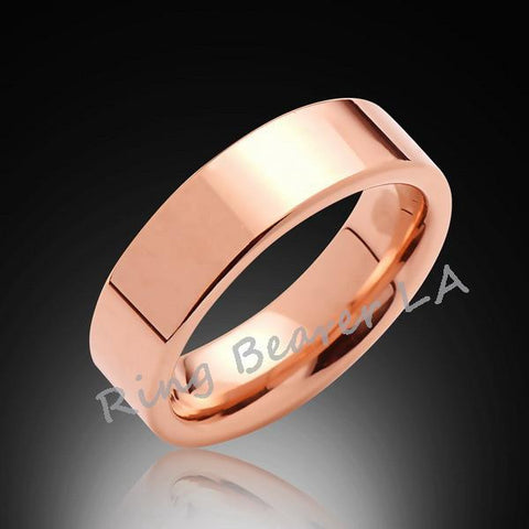 6mm,Pipe Cut,High Polish Rose Gold,Rose,Tungsten Rings,Wedding Band,Unisex,His,Hers,Comfort Fit - RING BEARER LA