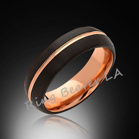 6mm,Black Brushed,Rose Gold,Tungsten Ring,Rose Gold,Men's Wedding Band,Mens Band,Comfort Fit - RING BEARER LA
