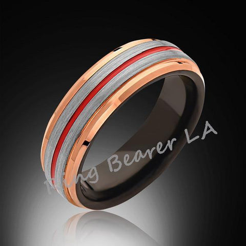 6mm,Rose Gold Tungsten,Satin,Gray Brushed,Red Tungsten Ring,Men's Wedding Band,Mens Band,Comfort Fit - RING BEARER LA