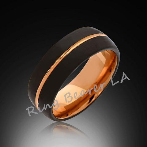 8mm,Black Brushed,Rose Gold,Tungsten Ring,Rose Gold,Men's Wedding Band,Mens Band,Comfort Fit - RING BEARER LA