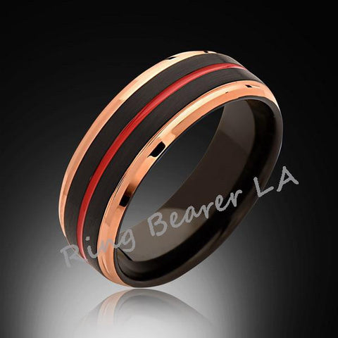 8mm,Rose Gold Tungsten,Satin,Black Brushed,Red Tungsten Ring,Men's Wedding Band,Mens Band,Comfort Fit - RING BEARER LA