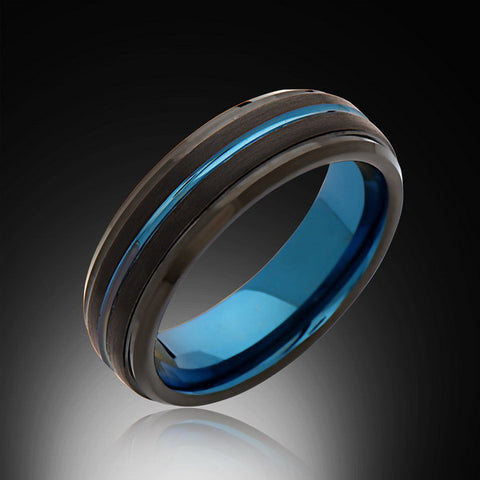 6mm,Black Satin Brushed, Blue Tungsten Ring,Unique,Mens Wedding Band,Blue Ring,Comfort Fit - RING BEARER LA