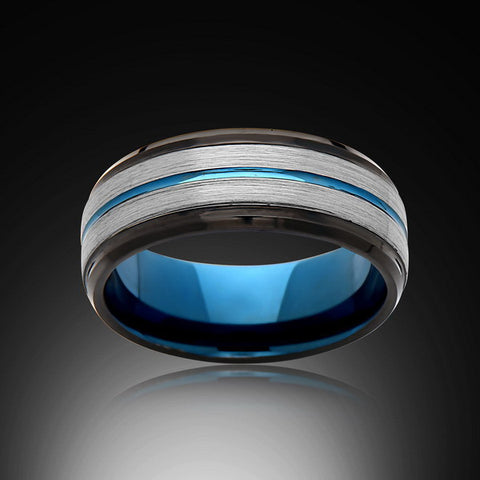 Blue Tungsten Ring - Brushed Gray - Black - Engagement Band - 8MM - Mens Ring - Unisex